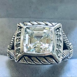 Judith Ripka Big Bold Ascher CZ Sterling Ring 8